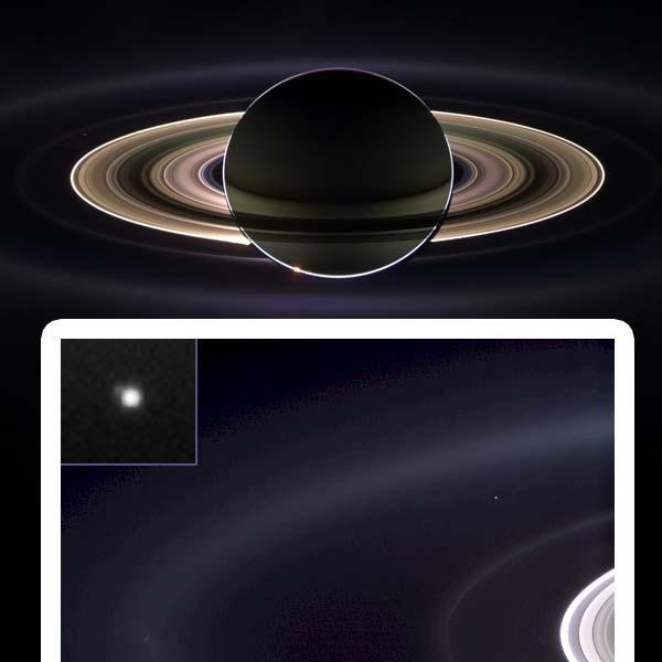 De foto die Cassini in 2006 maakte. In de inzet is ook de aarde te zien. Afbeelding: NASA/JPL/Space Science Institute.
