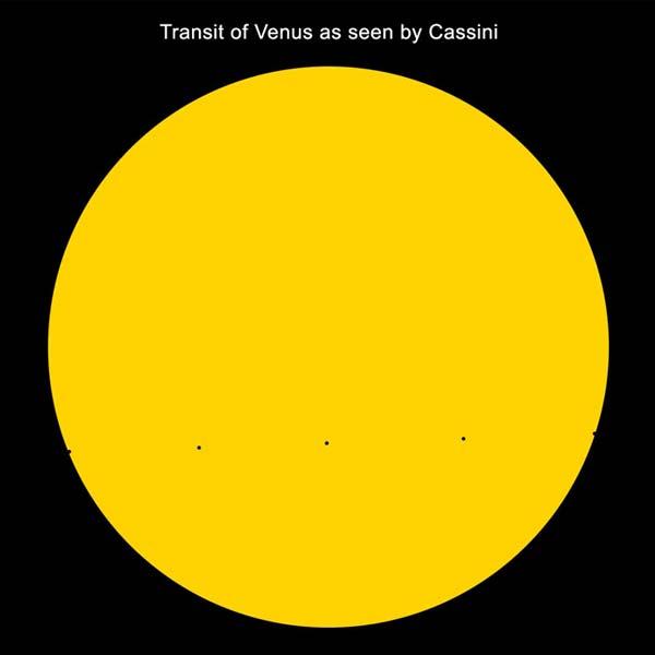 Zo zal Cassini de Venusovergang waarnemen: als een heel klein spikkeltje op de zon. Heel anders dan de Venusovergang die we op aarde zagen (zie de foto helemaal bovenaan dit artikel). Afbeelding: