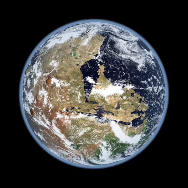 Het westelijk halfrond van Mars. Afbeelding: Kevin Gill.