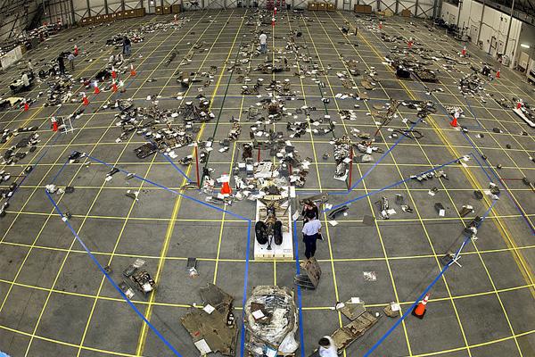 De brokstukken van spaceshuttle Columbia. Foto: NASA.