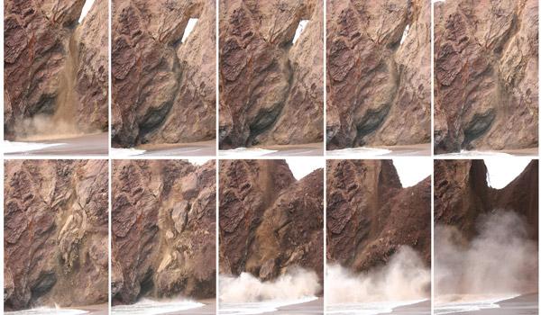 Het instorten van de natuurlijke brug. Foto's: Robert Wills / California Geological Survey.