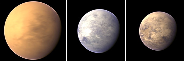 Van links naar rechts: Gliese 163c, Tau Ceti e en HD 85512 b (niet op schaal). Afbeeldingen: PHL @ UPR Arecibo / NASA / IPAC IRSA / IAU / Sky & Telescope.