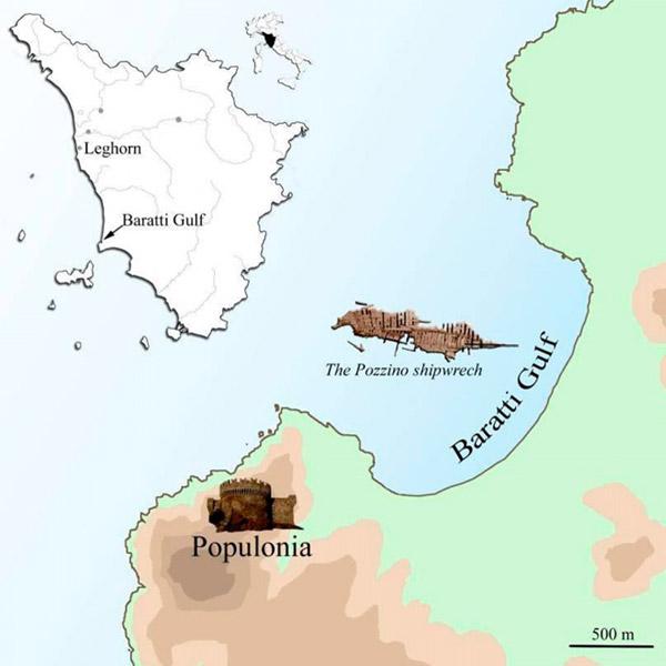 De locatie van het scheepswrak. Afbeelding: