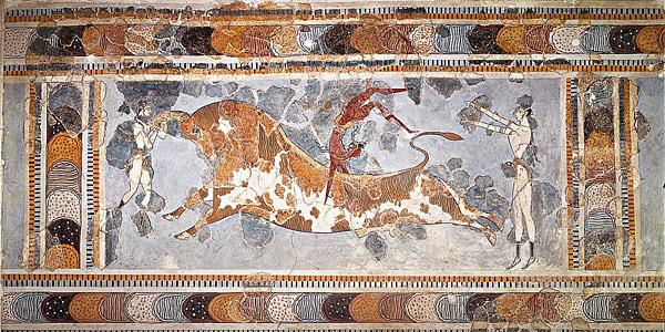 Een afbeelding van een stiersprong. De afbeelding werd teruggevonden in een paleis uit de tijd van de Minoïsche beschaving. Afbeelding: ChrisO (via Wikimedia Commons).