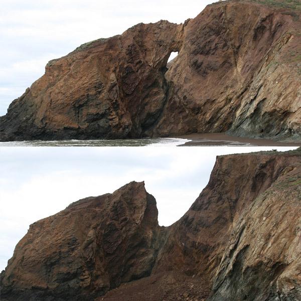Voor en na het instorten van de natuurlijke brug. Foto's: Robert Wills.