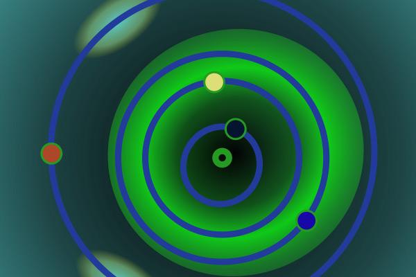 De Apollo-planetoïden (in het groen). De zon ziet u in het midden. Mars is rood, de aarde is blauw, Venus is geel en Mercurius is zwart. Afbeelding: AndrewBuck (via Wikimedia Commons).