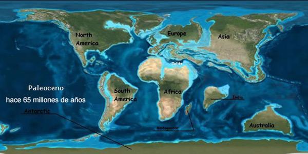 Zo zag de aarde er enkele tientallen miljoenen jaren geleden uit. Te zien is hoe India en Madagaskar al uit elkaar aan het bewegen zijn. Afbeelding: Vitorsingleboy (via Wikimedia Commons).