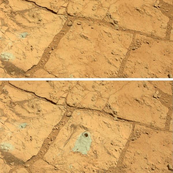 De situatie voor- en nadat Curiosity zijn boor aanzwengelde. Foto: NASA / JPL-Caltech / MSSS.