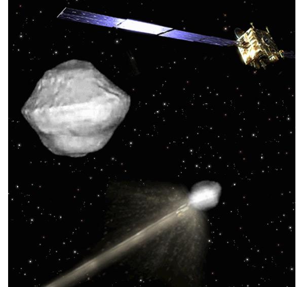 Eén van de sondes ramt zich in de ruimtesteen, terwijl de andere sonde kijkt wat er precies gebeurt. Afbeelding: ESA.