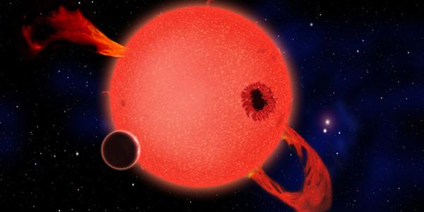 Deze rode dwerg spuugt ultraviolette straling uit. Afbeelding: David A. Aguilar (CfA).
