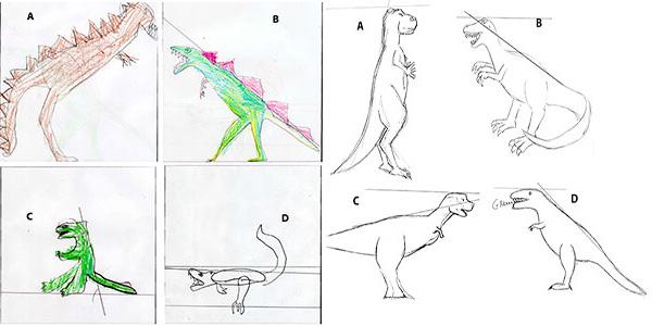 De tekeningen die de proefpersonen van T. rex maakten. Afbeelding: Cornell University.