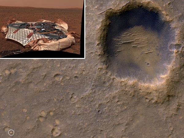 Een stukje Mars met linksonder (omcirkeld) de lander die Marswagentje Spirit op Mars achterliet. De inzet laat de lander van ietsje dichterbij zien. Afbeelding: NASA / JPL / Cornell.