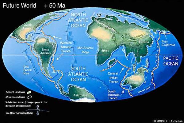 De situatie over zo'n vijftig miljoen jaar, waarna 150 miljoen jaar later wellicht Pangea Ultima ontstaat. Afbeelding: C.R. Scotese.