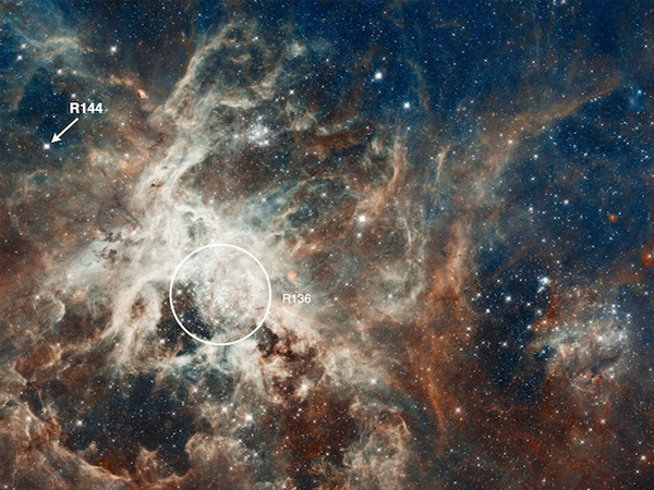 Linksboven ziet u dubbelster R144. De centrale sterrenhoop is met de cirkel aangeduid. Foto: NASA / ESA / D. Lennon / E. Sabbi (ESA / STScI).