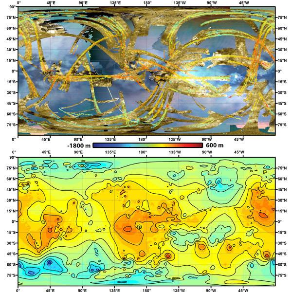 Topografische kaarten van Titan. Afbeelding: NASA / JPL-Caltech / ASI / JHUAPL / Cornell / Weizmann.