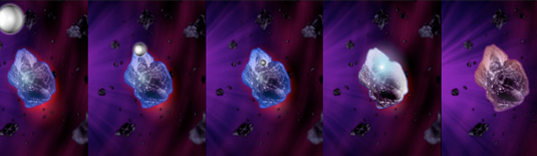 Een waterstofatoom raakt insterstellair ijs op een micrometer groot stofdeeltje. Afbeelding: Astronomie.nl