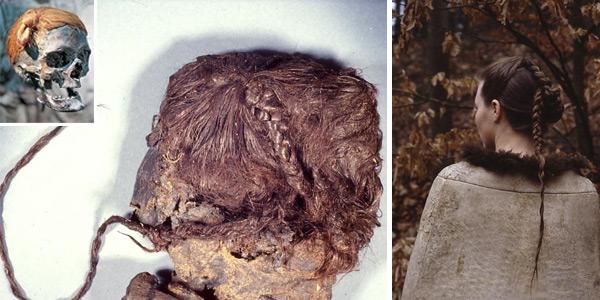 De Vrouw van Elling (links). En een reconstructie van haar kapsel (rechts). Inzet: Het Duitse veenlijk met het knotje aan de zijkant. Foto's: Tollundman.dk.