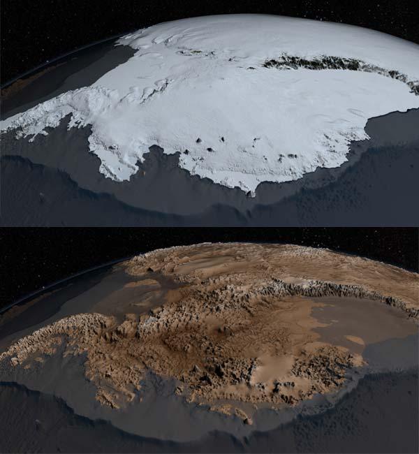 Onder de ijzige deken gaat een zeer grillig landschap schuil. Afbeeldingen: NASA's Goddard Space Flight Center.