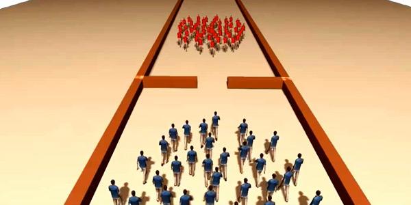 Rood en blauw passeren elkaar, maar moeten door dezelfde smalle opening. Gaat dit lukken of niet? Simulaties geven antwoord op dit soort vragen.