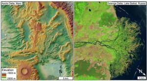 Een deltagebied op Mars (links) en op aarde (rechts). Zoek de verschillen!