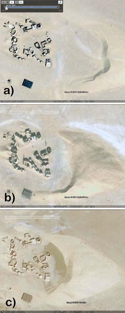 De situatie in 2004 (A), 2008 (B) en 2009 (C). Afbeelding: afkomstig uit het paper 'Dunes on planet Tatooine : Observation of Barchan Migration at the Star Wars film set in Tunisia'.
