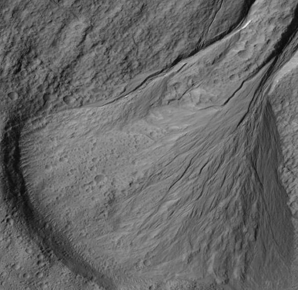 Een puinwaaier op Mars. Afbeelding: Universiteit Utrecht.