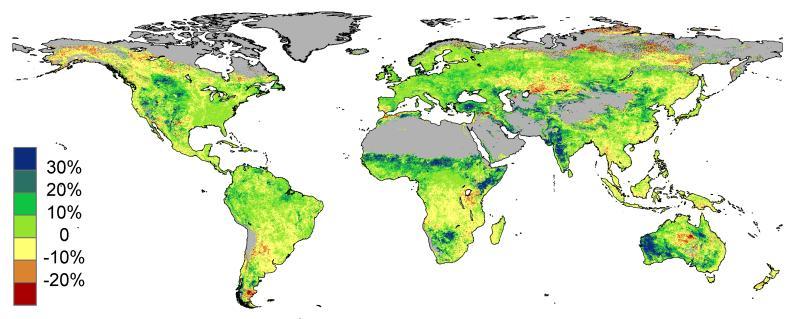 De meeste gebieden zijn een stuk groener. In Oost-Afrika, West-Australië en India zijn gebieden waar het bladerdek met meer dan 30% is toegenomen!