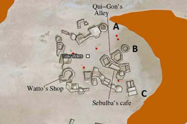 De gebouwen die toeristen graag bezoeken, zijn op deze kaart bij naam genoemd. De zandduin die de filmset bedreigt, is rechts te zien. Afbeelding: afkomstig uit het paper 'Dunes on planet Tatooine : Observation of Barchan Migration at the Star Wars film set in Tunisia'.