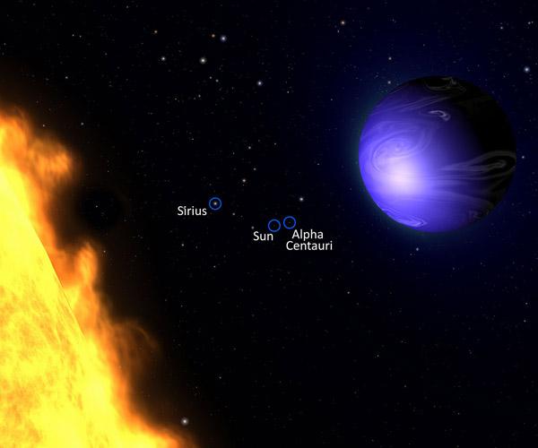 Een artistieke impressie van planeet HD 189733b. Afbeelding: NASA / ESA / G. Bacon (AURA / STScI).