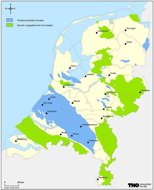 Waar zit het schaliegas? In met name Noord-Brabant, Zeeland en Oost Nederland. De plaatsen Boxtel en Helvoirt in Noord-Brabant en de plaatsen Marknesse en Luttelgeest in Flevoland staan in de picture voor een proefboring naar schaliegas. Foto: TNO
