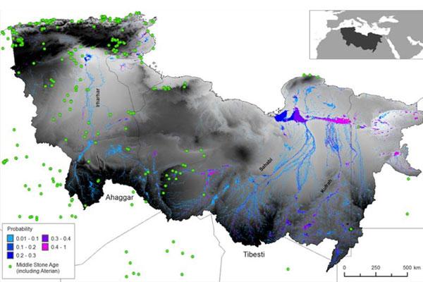 De drie riviersystemen in de Sahara. Afbeelding: Coulthard TJ, Ramirez JA, Barton N, Rogerson M, Brücher T (2013) Were Rivers Flowing across the Sahara During the Last Interglacial? Implications for Human Migration through Africa. PLoS ONE 8(9): e74834. doi:10.1371/journal.pone.0074834.