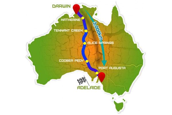 De om en nabij 3000 kilometer lange reis door Australië. Afbeelding: World Solar Challenge.