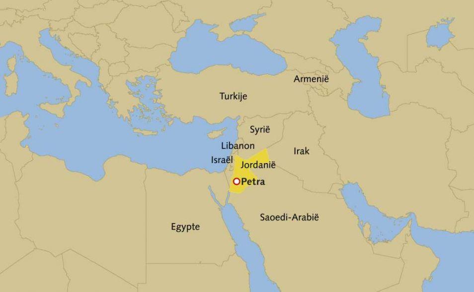 Kaart van Jordanië en omgeving.