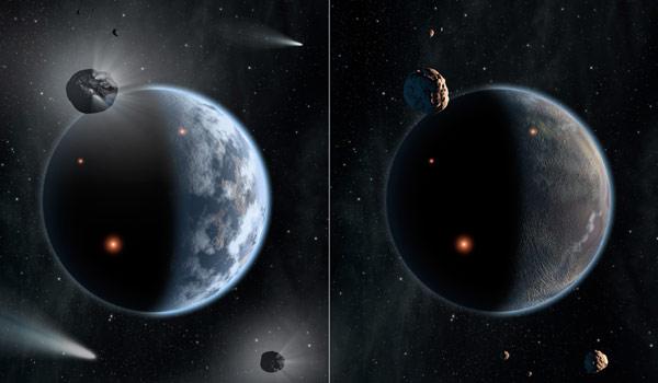 Links een planeet zoals de aarde (die dus niet voornamelijk uit koolstof bestaat). Rechts een koolstofrijke planeet. Afbeelding: NASA / Caltech.