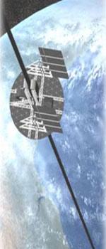 Hoe ziet zo'n ruimtelift er vanaf de aarde gezien uit? Niet heel spectaculair. U ziet hoe een dunne kabel in de wolken verdwijnt. De kabel wordt vergezeld door laserstralen die de klimmers van energie voorzien. Afbeelding: ISEC.