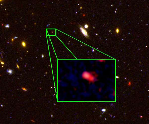 Het verre sterrenstelsel. Afbeelding: V. Tilvi, S.L. Finkelstein, C. Papovich, STScI / NASA.