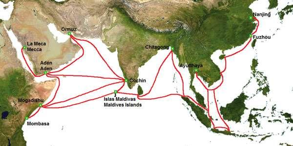 De reizen van Zheng He. Afbeelding: Continentalis (via Wikimedia Commons).