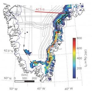 Kaart van zuid-Groenland met daarop de route van de traverse die de aquifer ontdekte (rode lijn), de route die het radarvliegtuig volgde om de uitgestrektheid van de aquifer in kaart te brengen (grijze lijnen), de plaatsen waar met radar een aquifer werd aangetroffen (zwarte punten) en het gebied met de voorspelling van de hoeveelheid vloeibaar water (kleuren, zie legenda). Beeld: Universiteit Utrecht