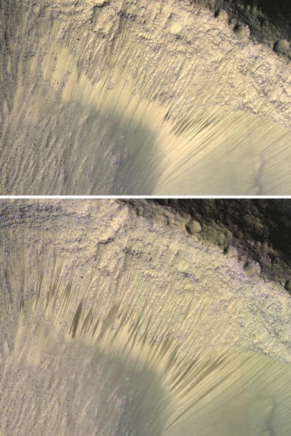 In de winter zijn de strepen niet te zien, in de lente verschijnen ze weer. Afbeelding: NASA / JPL-Caltech / Univ. of Arizona.