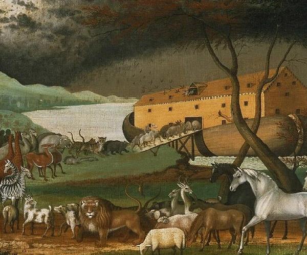 De dieren komen naar de ark. Een schilderij uit de negentiende eeuw, van de hand van Edward Hicks.