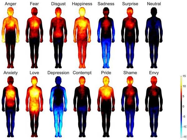 Verschillende emoties en de locatie van de fysieke effecten die daarbij horen. Afbeelding: Aalto Universiteit.