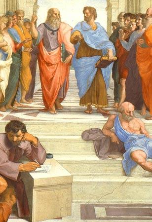 Een fragment van Rafaëls 'School van Athene'. Bovenaan de trap zien we Plato (in paarsblauw met oranje gekleed, naar boven wijzend). Hij spreekt met Aristoteles.