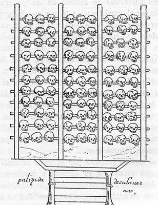 Een schedelrek. Afbeelding afkomstig uit de Durán Codex.