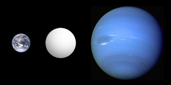 Een superaarde (midden) heeft een massa die enkele malen groter is dan die van onze aarde (links), maar kleiner dan die van een gasplaneet zoals Neptunus (rechts). Afbeelding: Aldaron (via Wikimedia Commons).