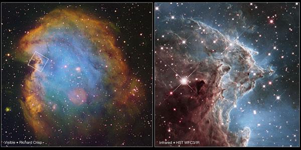 Links de Apenkopnevel. Het vakje laat zien waar de detailfoto (rechts) zijn oorsprong vindt. Afbeelding:  NASA / ESA / Hubble Heritage Team (STScI / AURA) / R. Crisp.