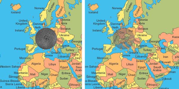 Hoe groot is het gefotografeerde gebied nu eigenlijk? Op deze afbeelding is dit goed te zien. Wij hebben het gebied op de maan - op ware grootte - op Europa geplakt. Veel landen in West-Europa, zoals België, Nederland en Duitsland worden opgeslokt.