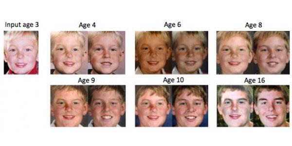 Helemaal links de foto die de computer kreeg. Vervolgens ziet u elke keer twee foto's. De foto links is de voorspelling van de computer. De foto rechts laat zien hoe het kind er op die leeftijd werkelijk uitzag. Afbeelding: University of Washington.