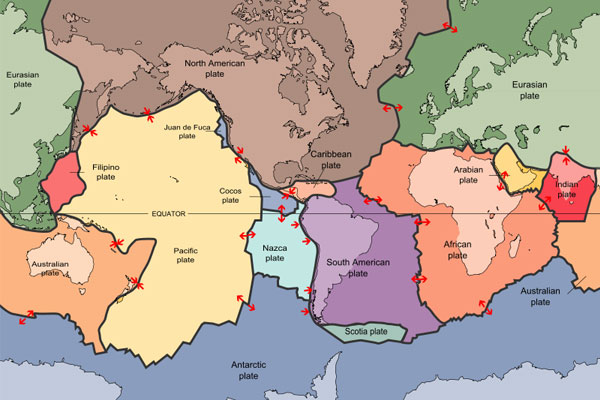 De verschillende aardplaten. Afbeelding: USGS.