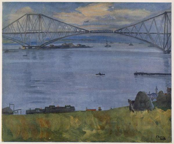 The Forth Bridge, Sir John Lavery, 1914. Tijdens het schilderen van dit schilderij werd Lavery opgepakt en urenlang vastgehouden op verdenking van spionage. Dit was echter niet het geval; hij had officiële toestemming. Bron: nationalgalleries.org