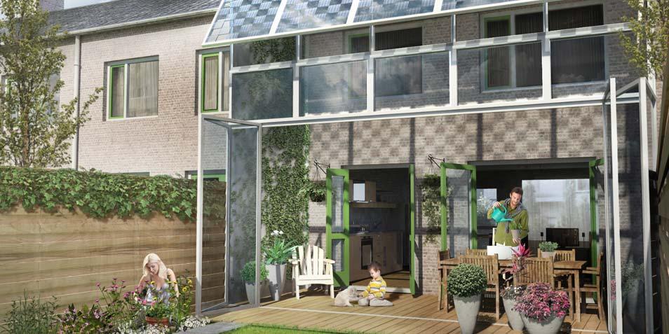 Het huis in de zomer. Afbeelding: Prêt-à-Loger / TU Delft.